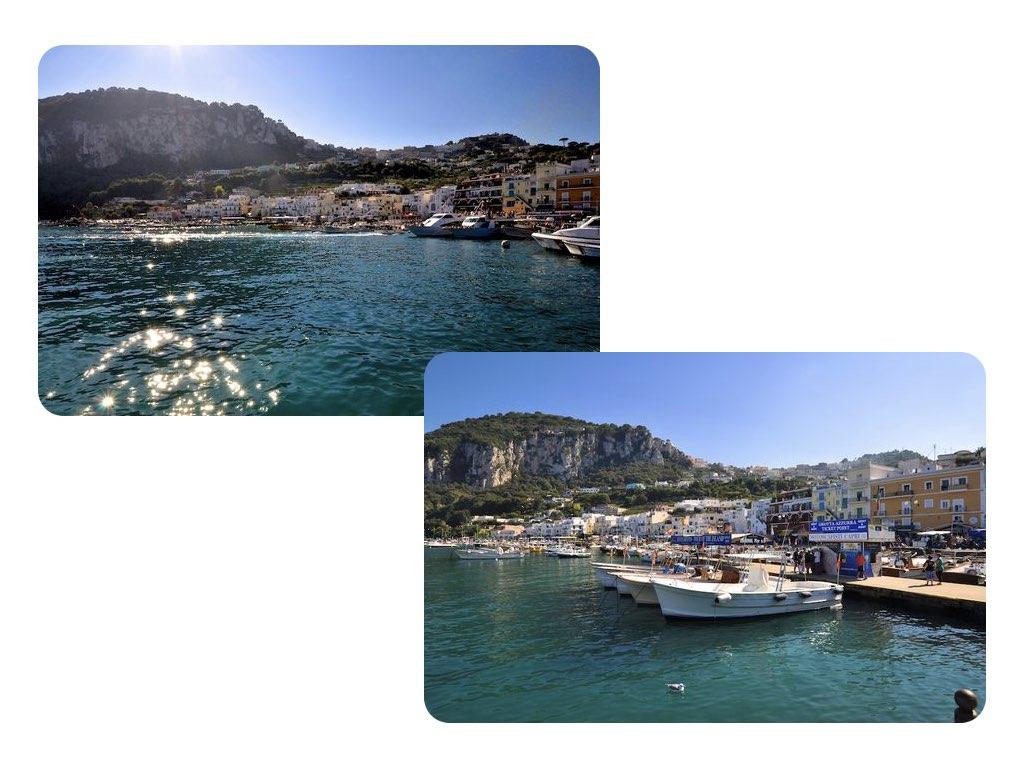 Ankunft in Capri am Hafen.
