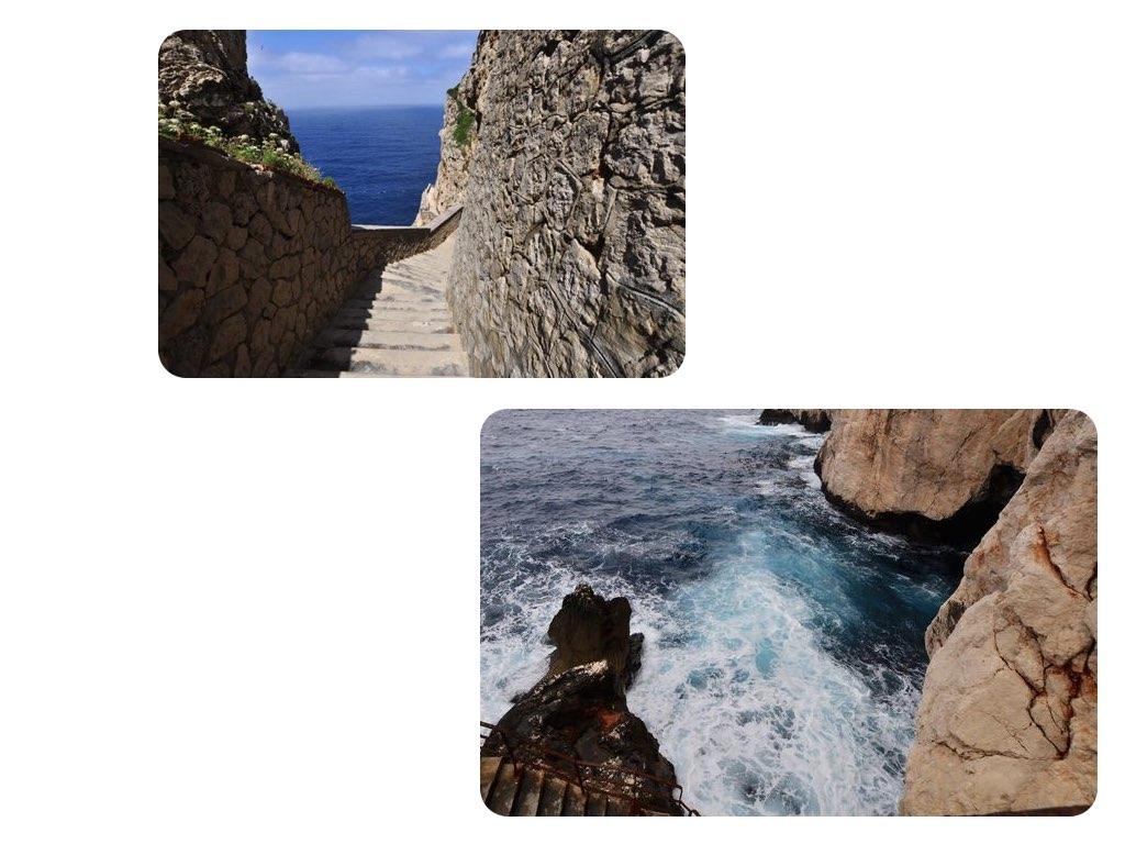 Der Weg zur Grotte: vorbei an tosenden Wellen.